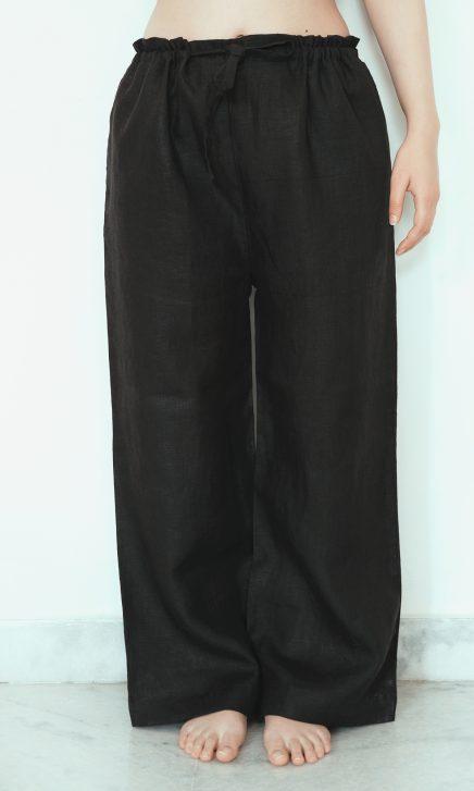Black Linen Pajama Pants