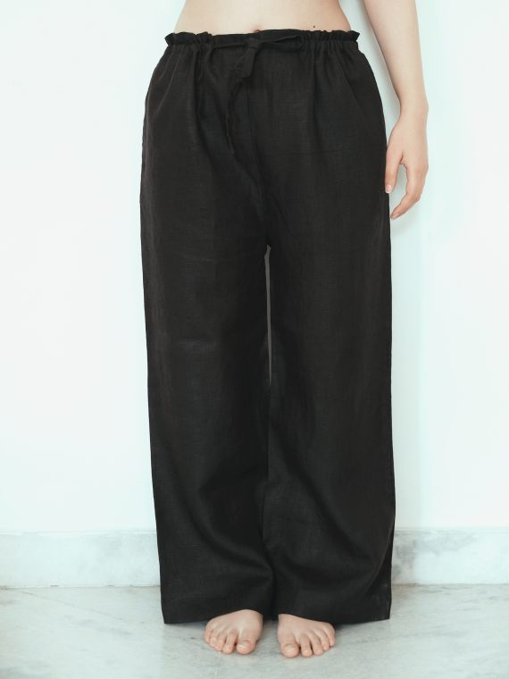 Black Linen Pajama Pants