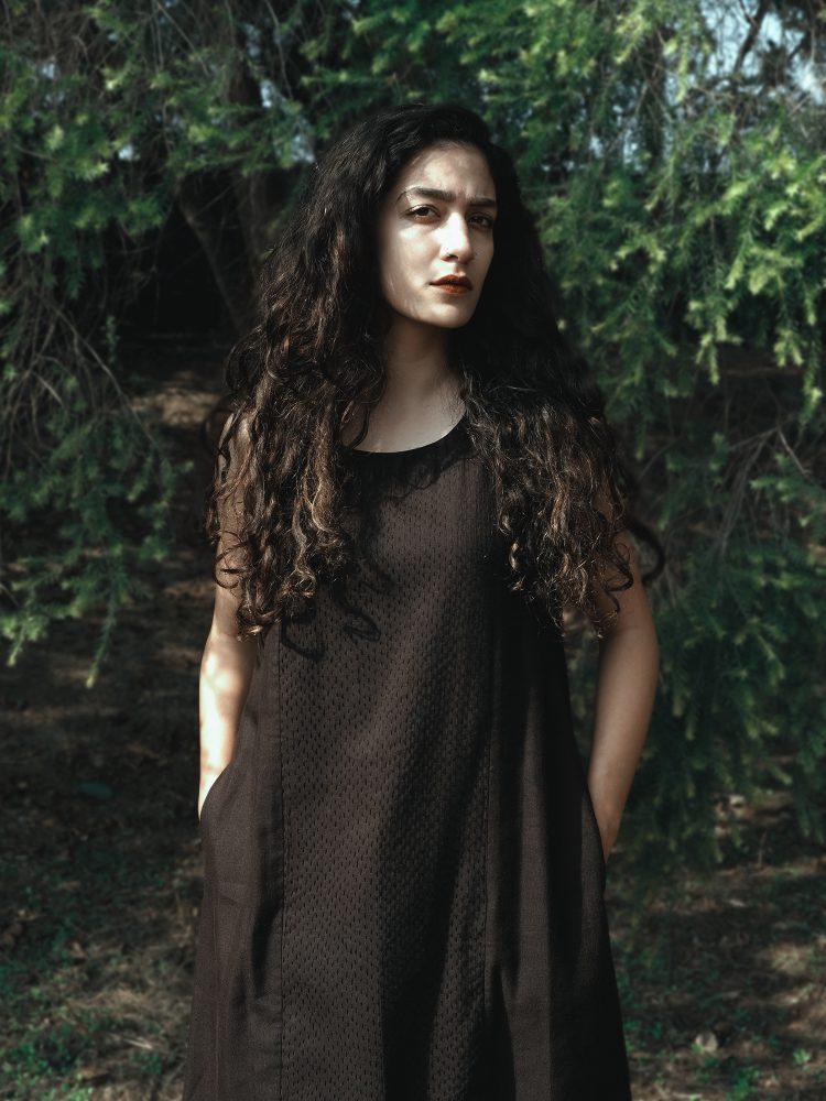 Black Sleeveless Dress With Kantha Detail