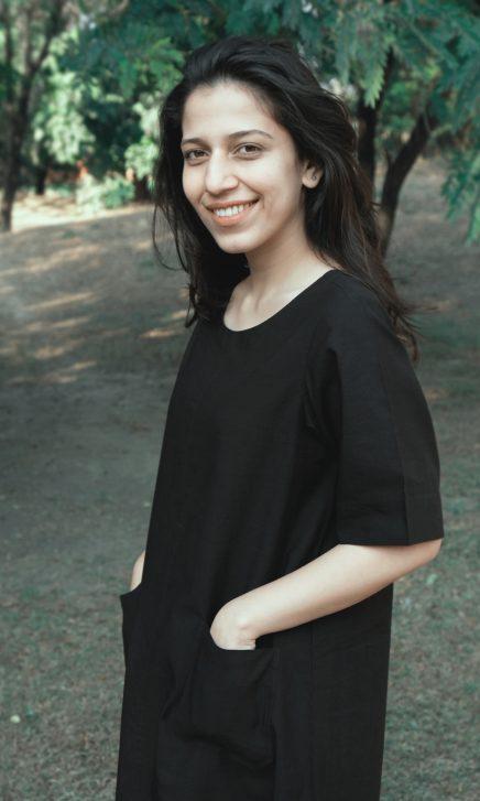 Black ALine Front Pocketed Dress