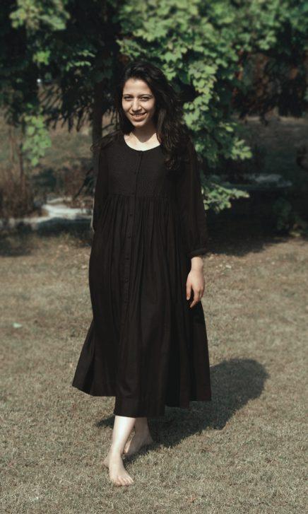 Black Gathered Dress With Kantha