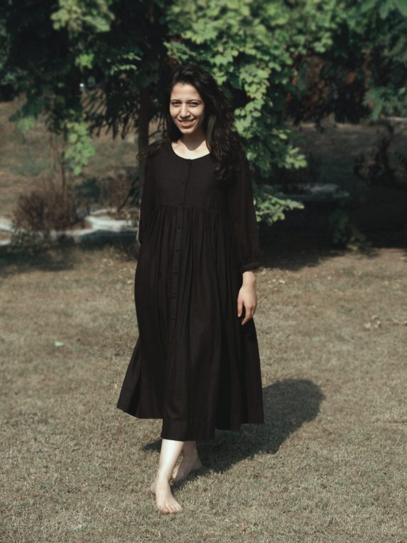 Black Gathered Dress With Kantha
