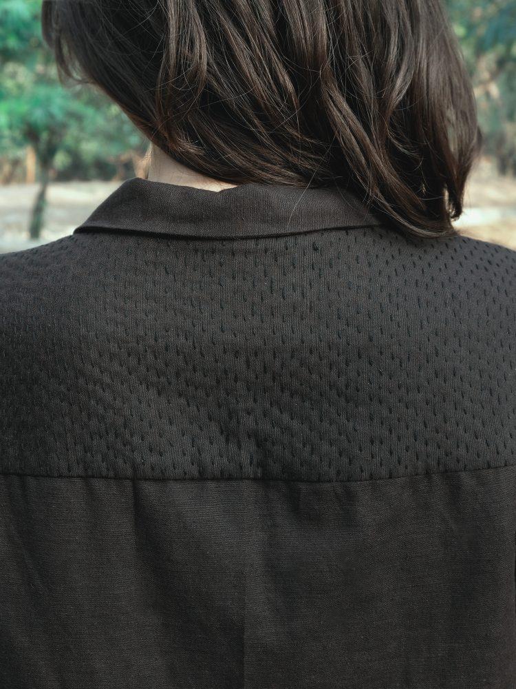 short shirt with kantha detail