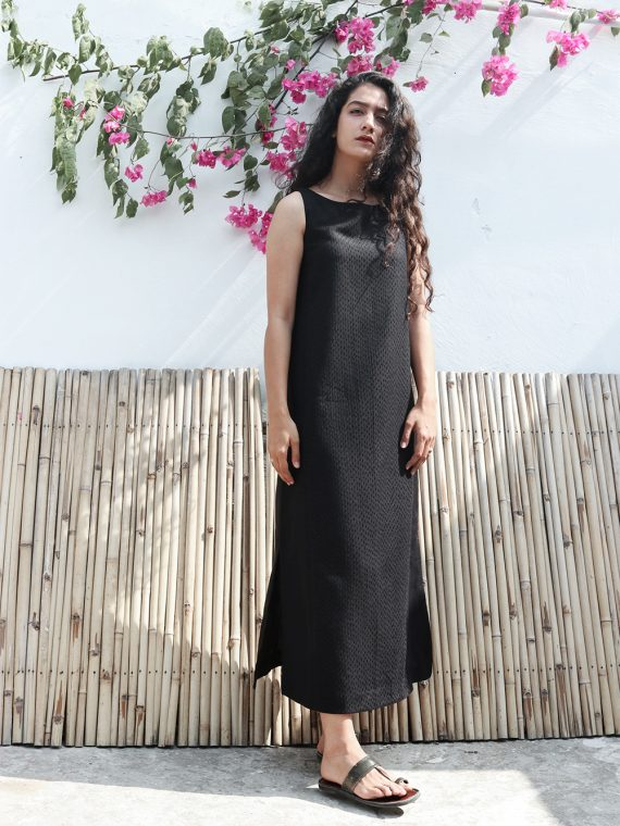 Black Slit Maxi Kantha Dress
