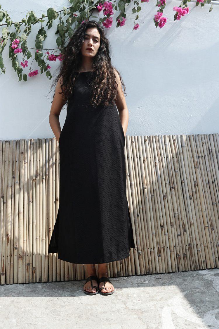 Black Slit Maxi Kantha Dress