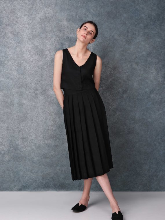 Black High Waist Linen Skirt