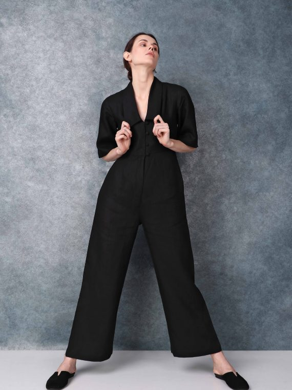 Bell Sleeved Darted Black Jumpsuit