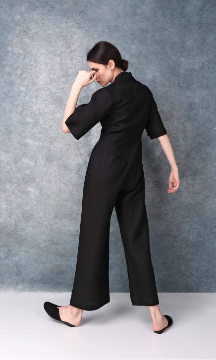 Bell Sleeved Darted Black Jumpsuit