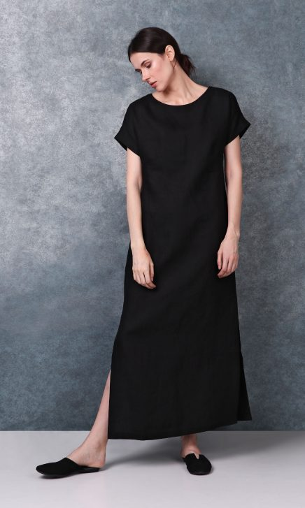 Boat Neck Black Linen Dress