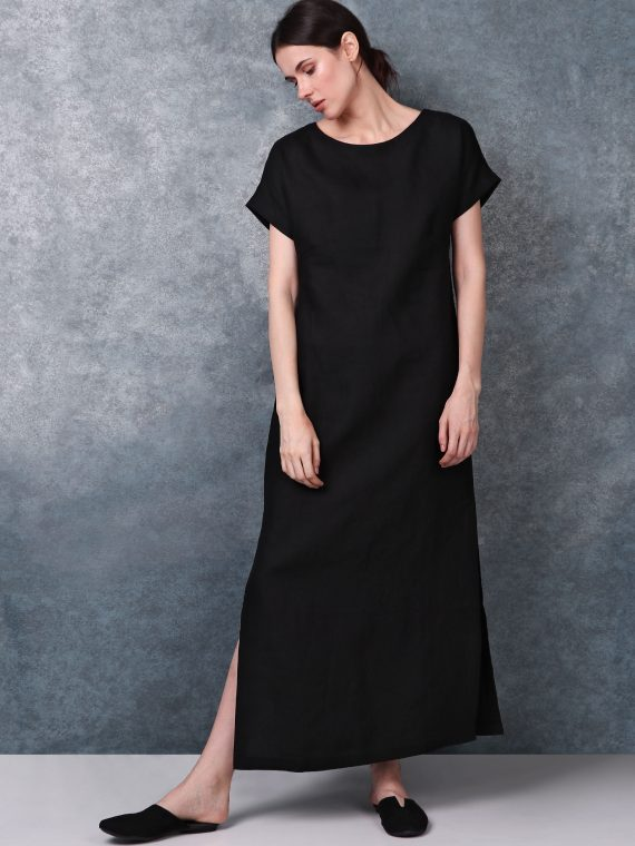 Boat Neck Black Linen Dress