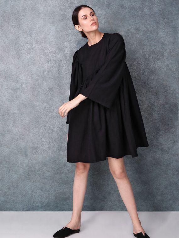 Black Linen Round Neck Dress