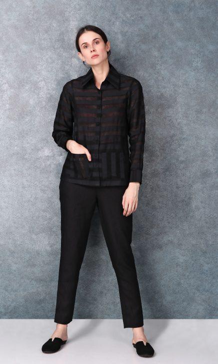 Black Linen Button Down Shirt