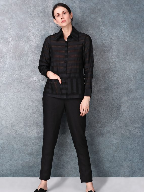 Black Linen Button Down Shirt