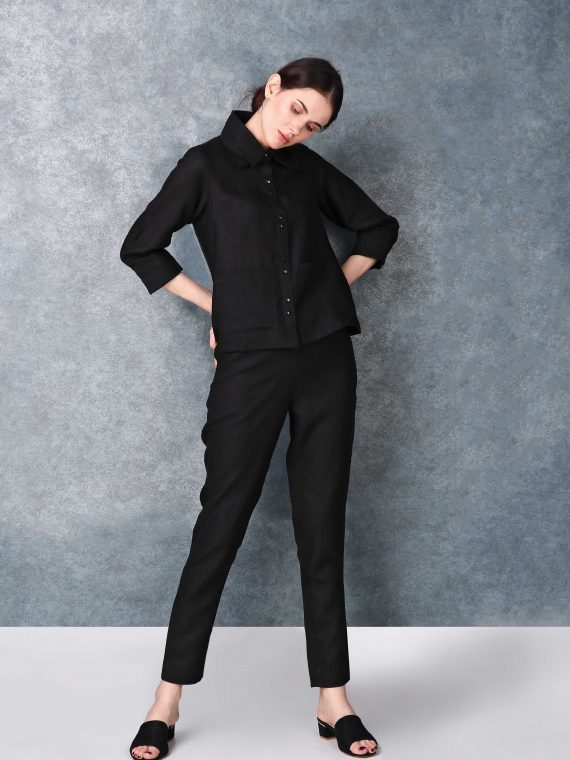 Linen Sleeved Buttoned Down Black Shirt