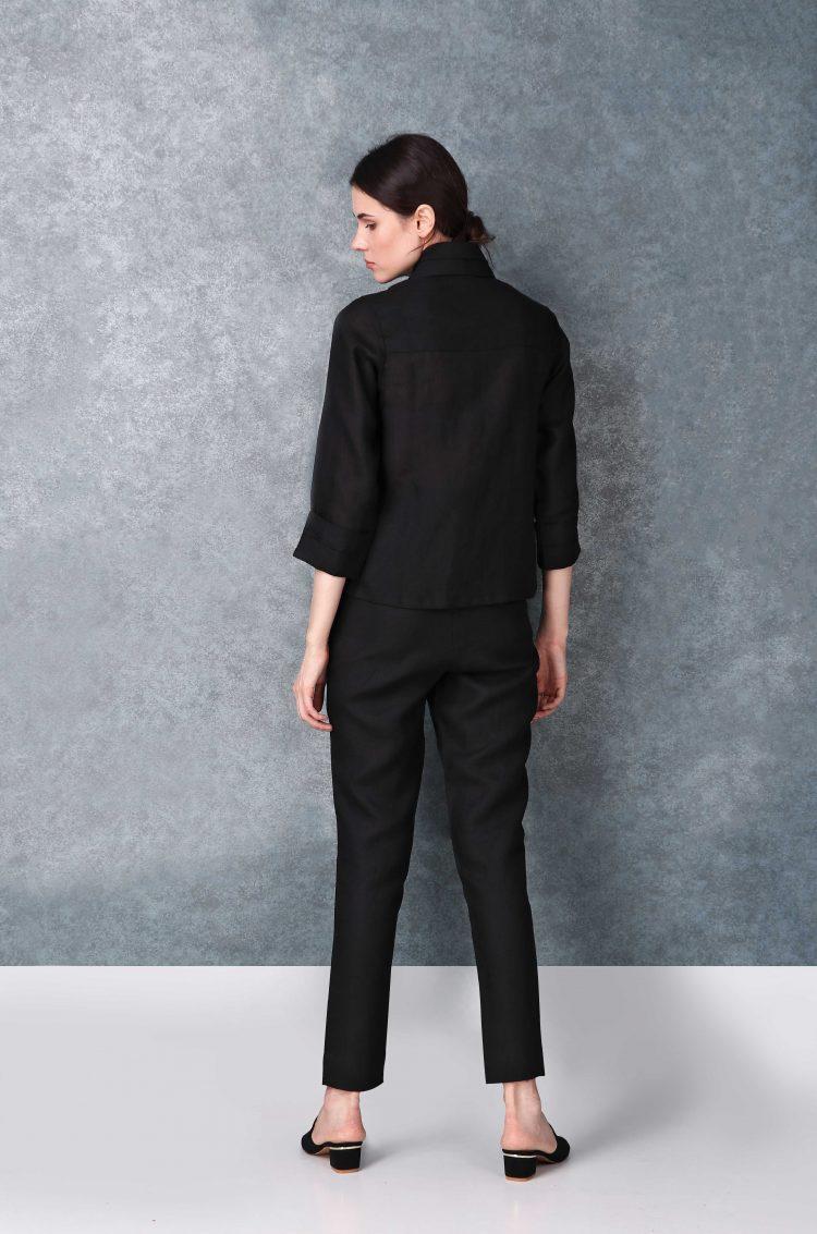 Linen Sleeved Buttoned Down Black Shirt