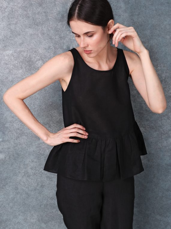 Black Peplum Detail Linen Top