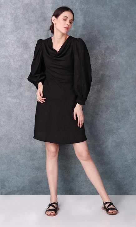Black Linen Short Dress