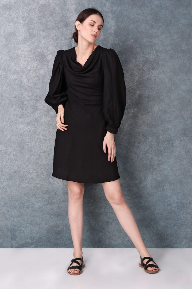 Black Linen Short Dress