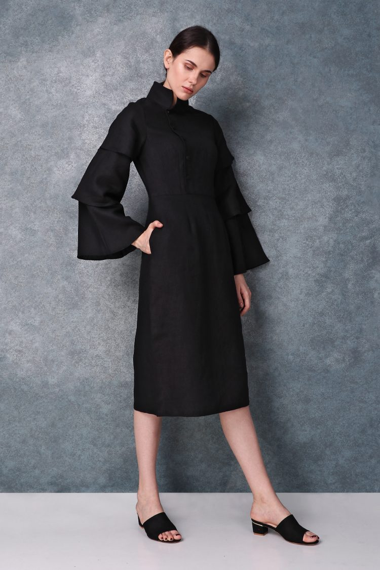 Linen High Neck Black Dress