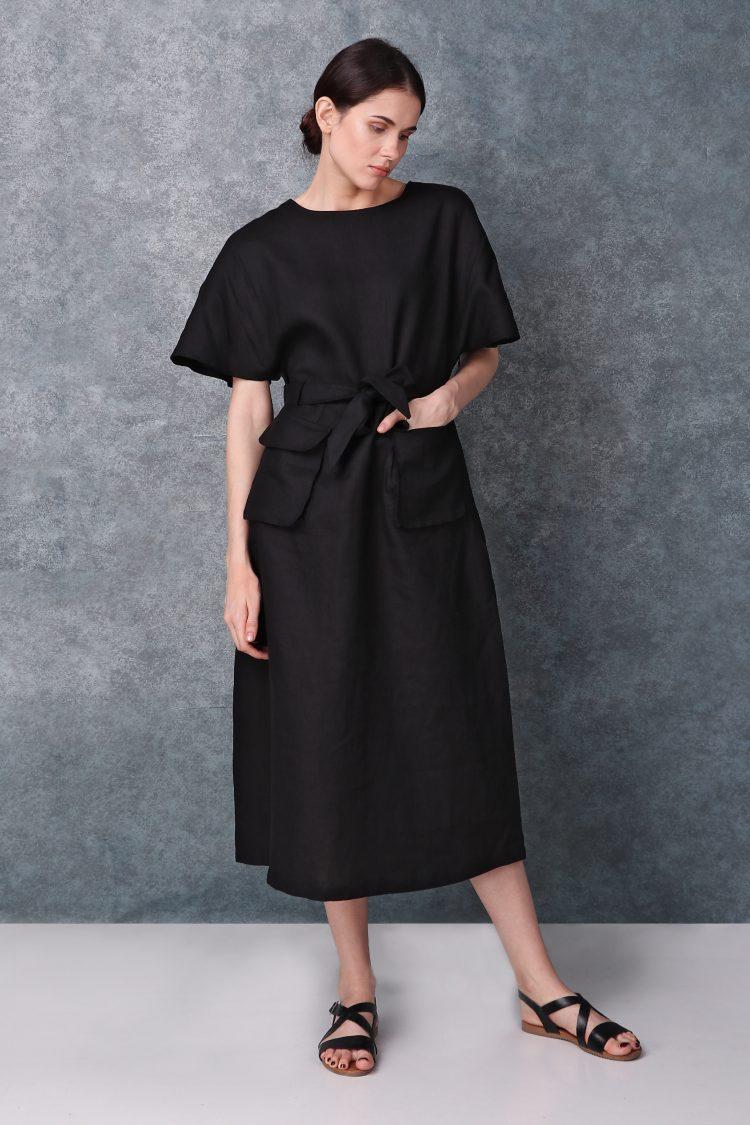 Black Kimono Sleeved Linen Dress