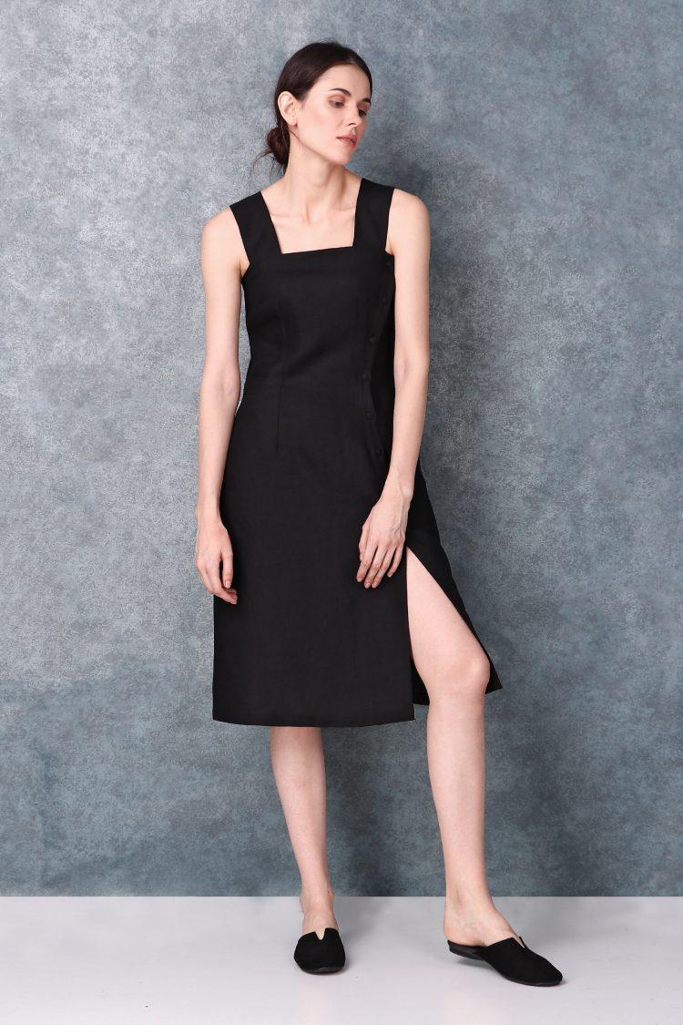High Slit Black Linen Dress