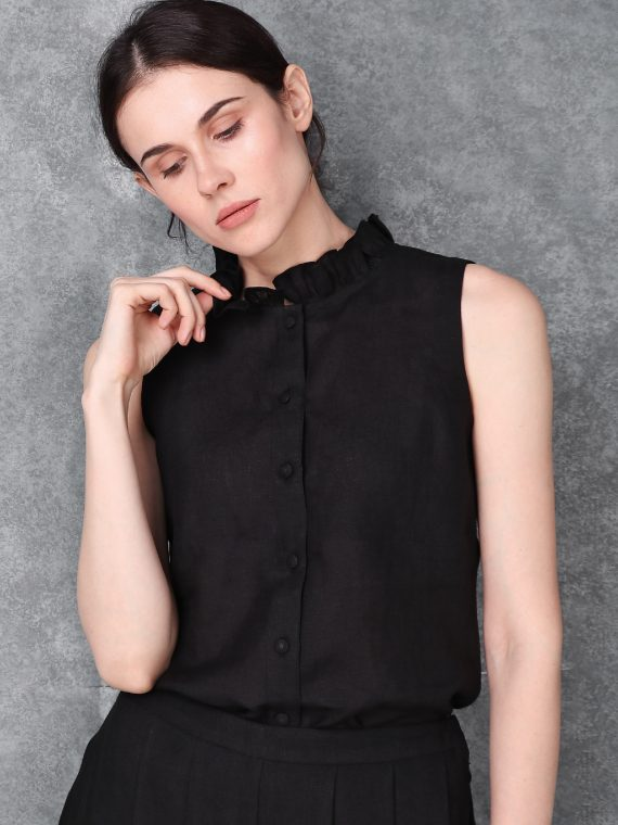 Black Cut Sleeve Linen Top