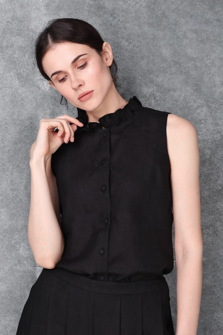 Black Cut Sleeve Linen Top