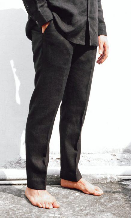narrow black linen pants