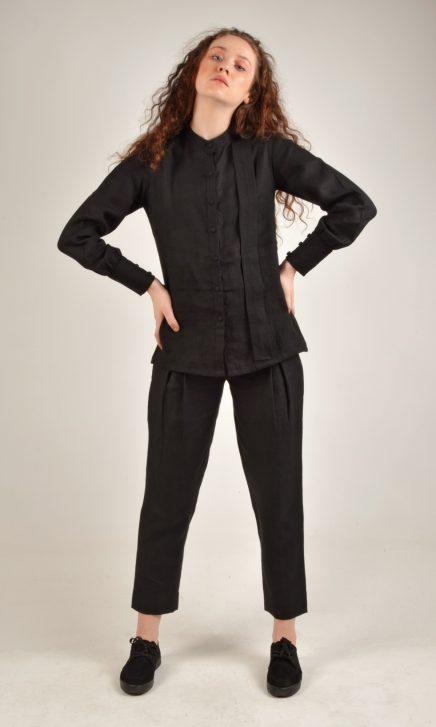 Mandarin Collared Black Linen Shirt