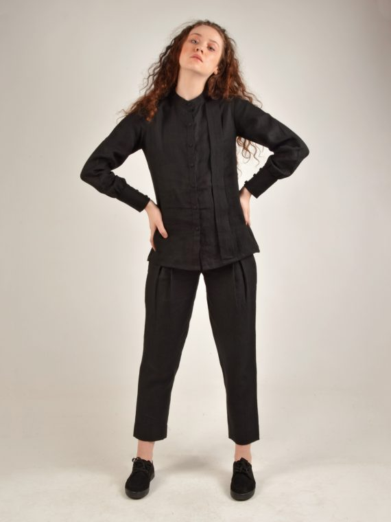 Mandarin Collared Black Linen Shirt