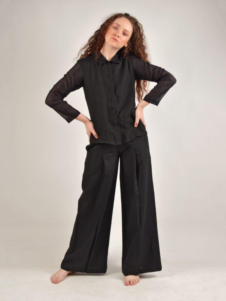 Sleeved Black Linen Shirt
