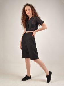 high waisted black linen shorts