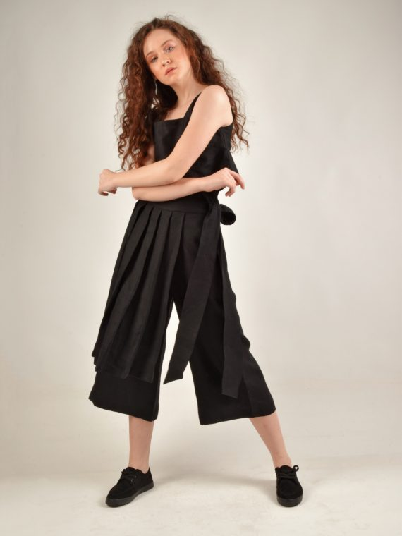 Skirt Detailed Black Linen Pants