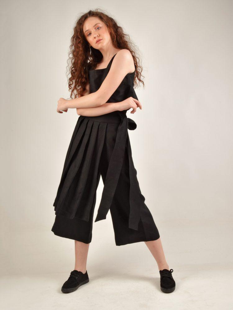 Skirt Detailed Black Linen Pants