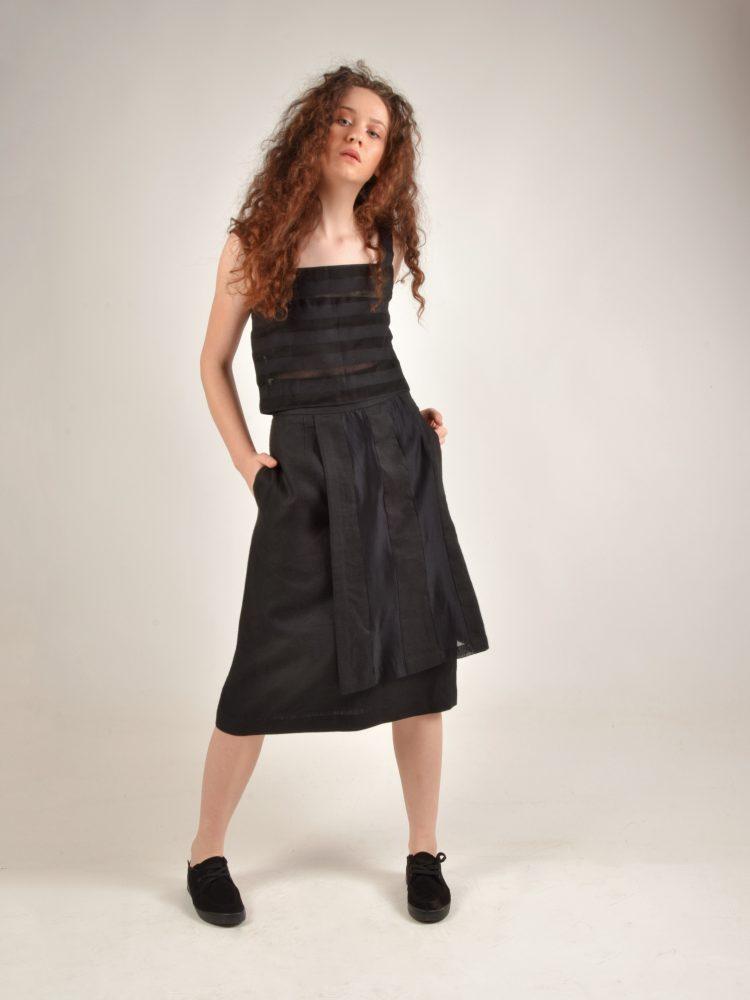 Striped Linen Black Crop Top