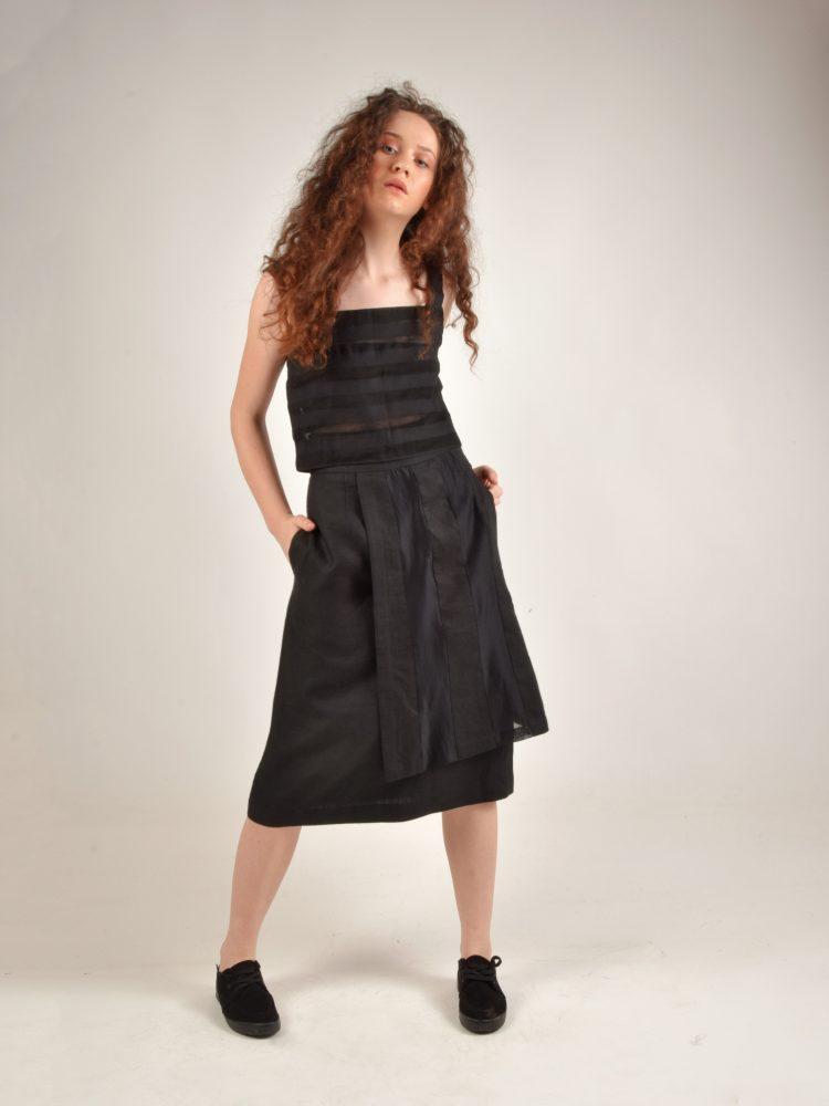 Over Panel Linen Black Skirt