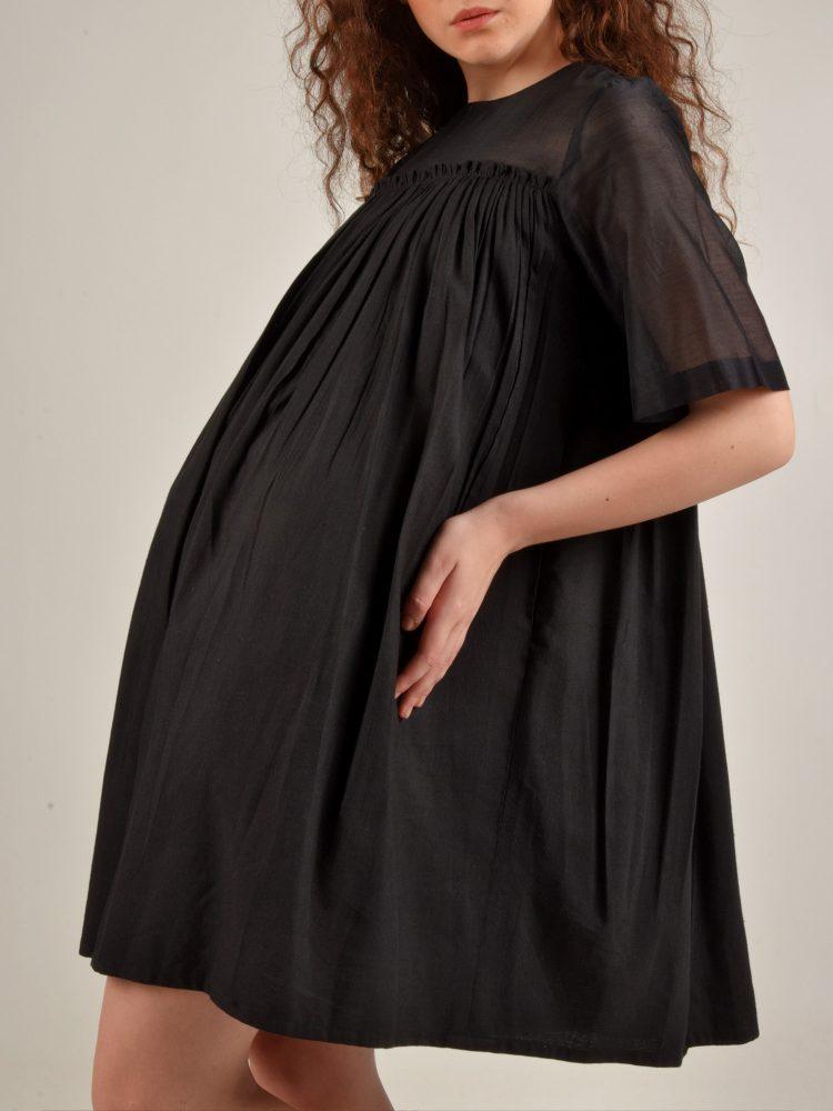 Cotton Linen Black Chanderi Dress