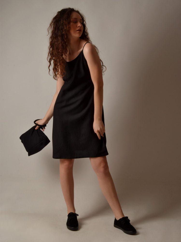 Linen Pocket Short Black String Dress