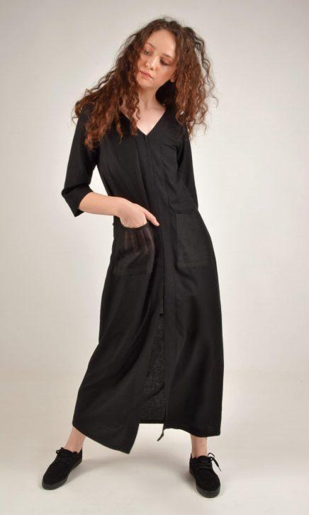 Long Double Slit Black Cotton Linen Tunic