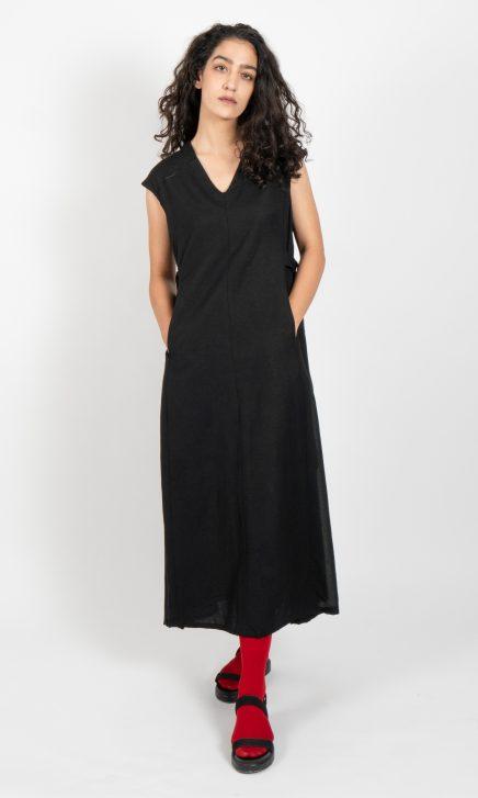 Black Drop Shoulder V Neck Dress